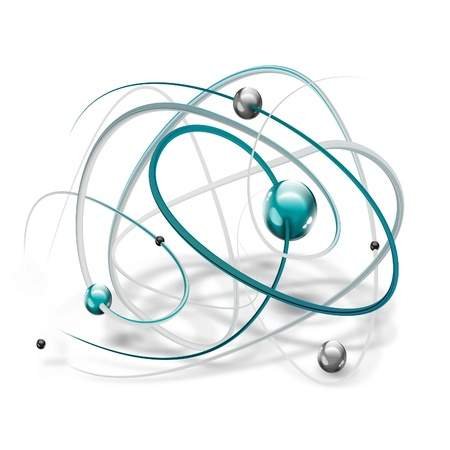 atom icon: science symbol with abstract molecule on a white background