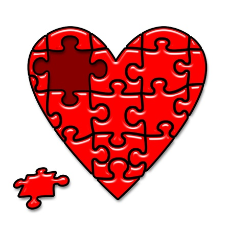 red puzzle heart isolated on white background photo