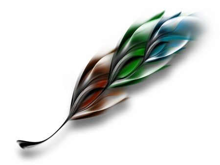 abstract multicolored feather isolated on white background photo