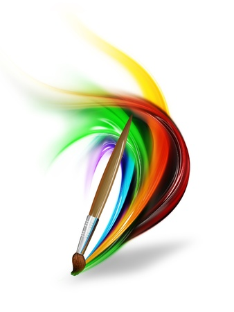 paintbrush drawing a rainbow on a white background