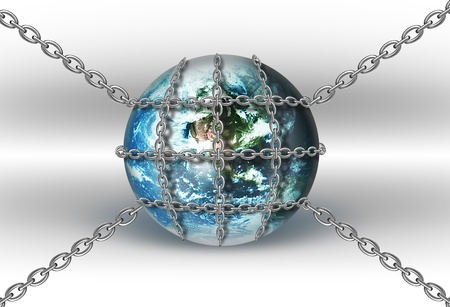 Metal chains wraped around Earth globe on a light background photo