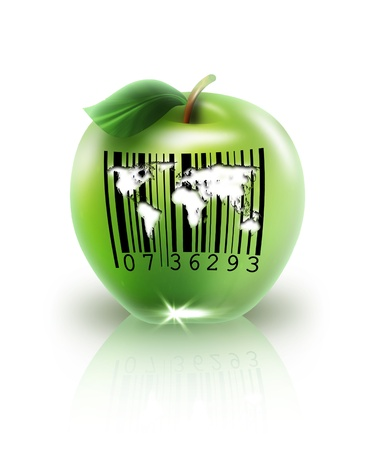 green apple with barcode on a light background photo