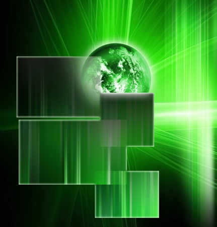 abstract technology background with an green planet photo