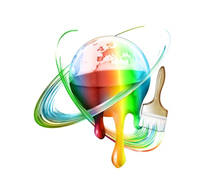 rainbow sphere: brush draws a rainbow around the multi colored world