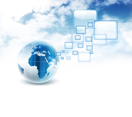 business graphics: blue planet with transparent browser windows on the background of the cloudy sky Stock Photo