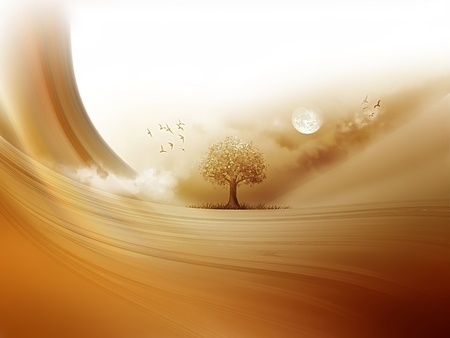 duna: �rbol en el desierto - un paisaje fant�stico Foto de archivo