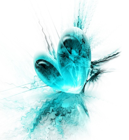 beautiful blue heart on an abstract background photo