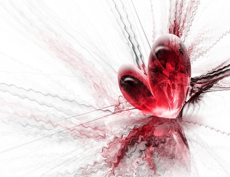 beautiful red heart on an abstract background photo