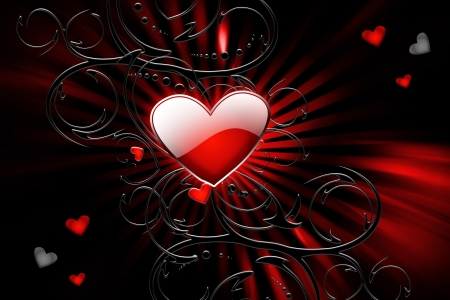 background decor with a beautiful red heart in the middle photo