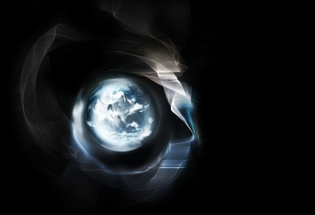 abstract glowing planet in space - fantastic design or art element for your projects photo