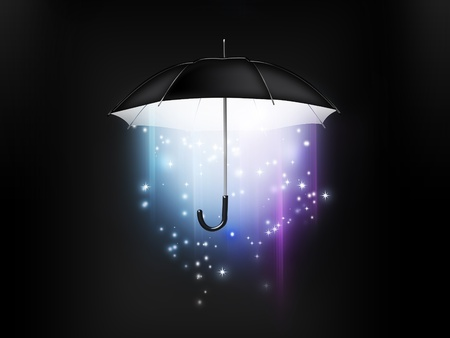 magical glow coming from the umbrella on a dark background photo