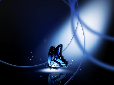 blue butterfly in a ray of light at night photo
