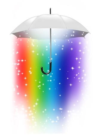 color image creativity: paraguas blanco con un arco iris dentro de aisladas sobre fondo blanco Foto de archivo