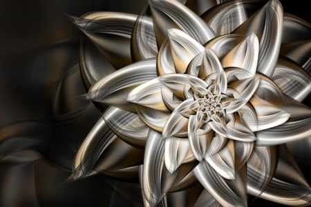 fractals: beautiful fractal metal flower on dark background Stock Photo