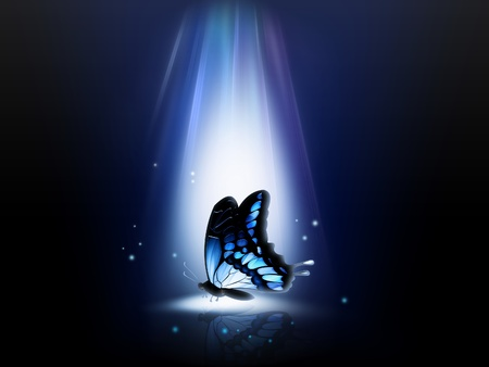 flower lamp: blue butterfly in a ray of light at night