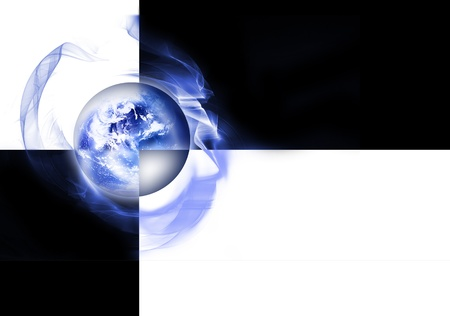 Blue abstract modern background with globe and black and white squares photo