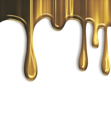 liquid gold: dripping gold paint isolated on a white background Stock Photo
