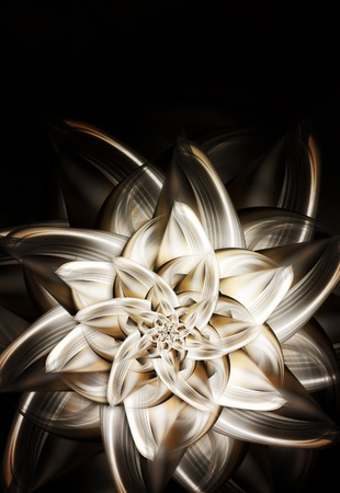 gold floral: beautiful metal flower of lily on dark background