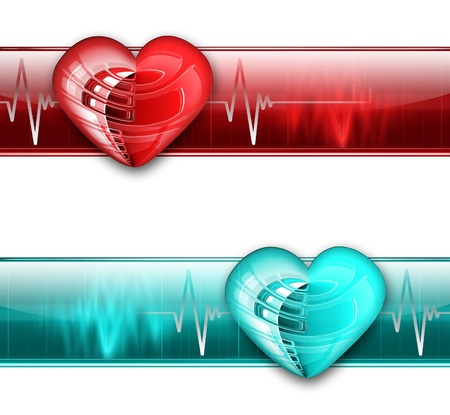 coronary artery: electrocardiogram graph banner - blue and red color variants Stock Photo