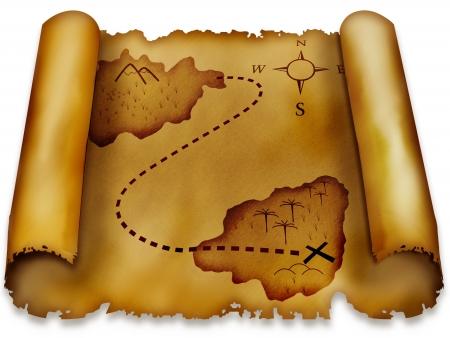 Tesoro antiguo mapa aislada sobre fondo blanco