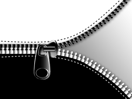 zip: opening the zipper on the black and white background