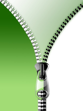 opening the zipper on the green and white background photo