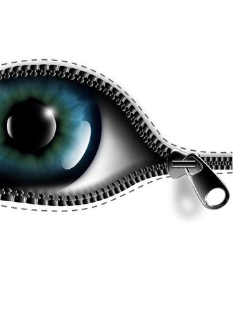 ojos: cremallera abriendo el ojo sobre un fondo negro