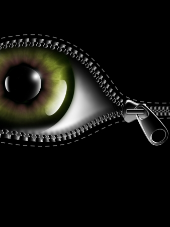 zipper opening the eye on a black background