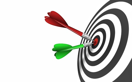 aim: shot of darts in bullseye on dartboard isolated on a white background
