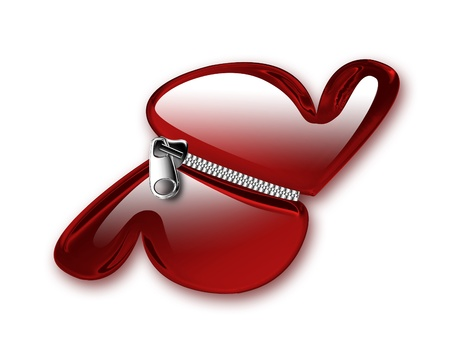 zipper joins two red hearts isolated on white background Stock Photo - 9947094