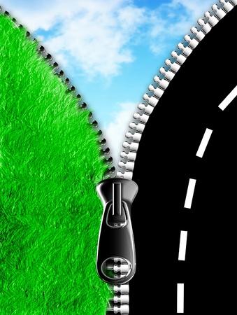 道路と空に対して草を結ぶジッパー 写真素材