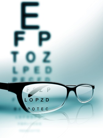 eyesight: glasses on the background of eye test chart