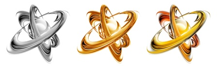 science symbol with abstract atom on a white background - monochrome, gold and multicolored versions photo