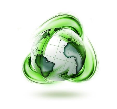 logo reciclaje: reciclar tierra verde s�mbolo - ecolog�a concepto Foto de archivo