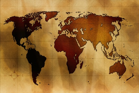 east europe: world map on ancient crumpled paper