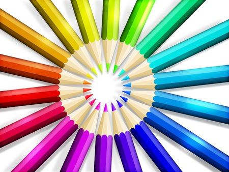 arrange: color pencils in arrange in cycle on white background Stock Photo