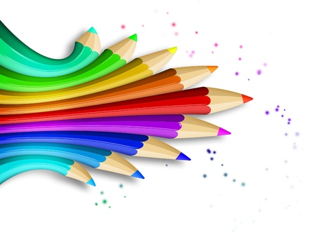 coloured pencils: creative template with coloured pencils - art concept illustration Stock Photo