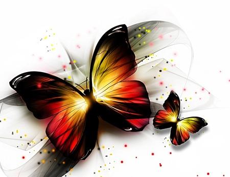 butterflies flying: dos butterflys hermosas elegantes sobre un fondo claro Foto de archivo