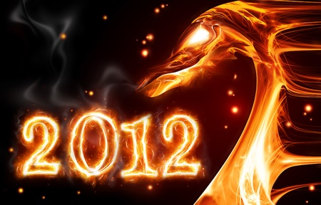 abstract fire dragon symbol of 2012 on a dark background photo