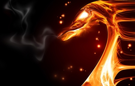 ferocious: abstract fire dragon on a dark background