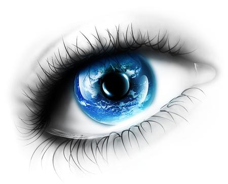 globo ocular: planeta está en el ojo aislado en un fondo blanco