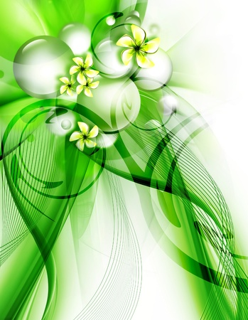 abstract paintings: beautiful green background with flowers for your design Stock Photo