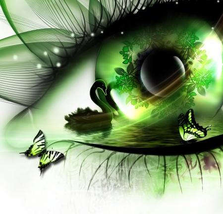 abstracte natuurlijke achtergrond met een zwaan in het oog en vlinders zweven