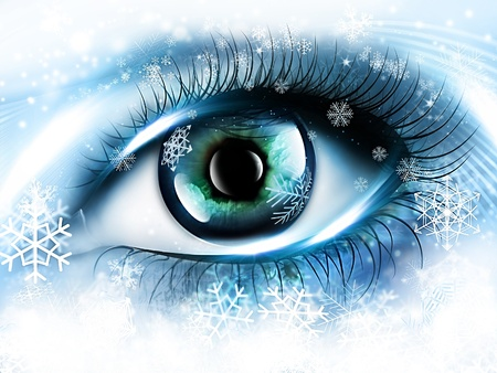 snowstorm: frozen blue eye - a winter theme background