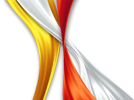 vibrant colors: yellow, white and red silk ribbons on a white background Stock Photo
