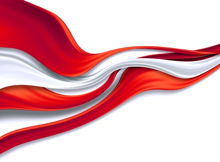 red and white silk ribbons on a white background Stock Photo