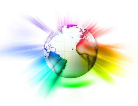 밝은 배경에 세계 빛나는 무지개