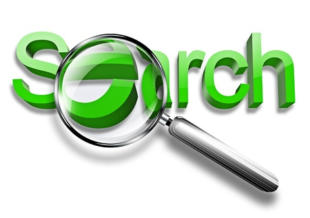magnification: magnification glass over search word on white background Stock Photo
