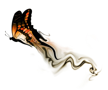 flying butterfly with smoke on a white background