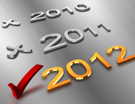 check icon - with the 2012 gold symbol on a metal background photo